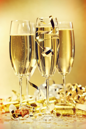 Glasses of champagne to bring in the new year