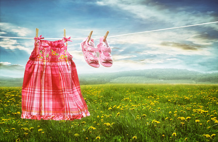 lavander: Vestido y calzado en tendedero en campos de verano de los dientes de león Foto de archivo