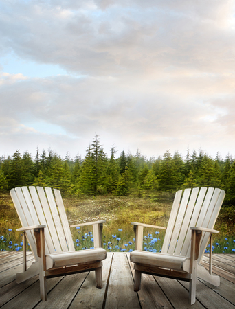 forest products: Wooden deck with chairs and forest flowers in background