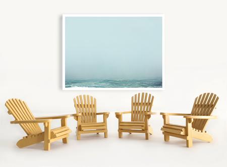 adirondack chair: Four miniature adirondack chairs on white background Stock Photo