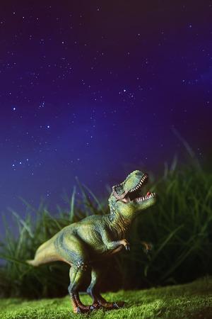 Tyrannosaurus toy on grass at night