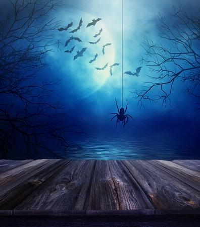 calabazas de halloween: Suelo de madera con la ara�a y tenebroso fondo de Halloween