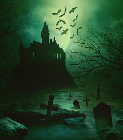 spooky graveyard: Spooky castle with eerie graveyard down below
