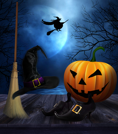halloween background: Witches broom hat and shoes with spooky Halloween background Stock Photo