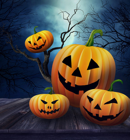 halloween background: Pumpkins on wooden table  with Halloween background Stock Photo