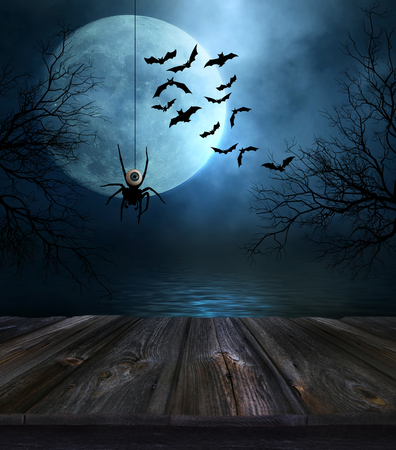 scary forest: Wooden floor with spooky Halloween background Stock Photo