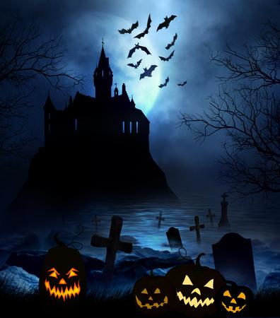 wooden floor: Wooden floor with spooky Halloween background Stock Photo