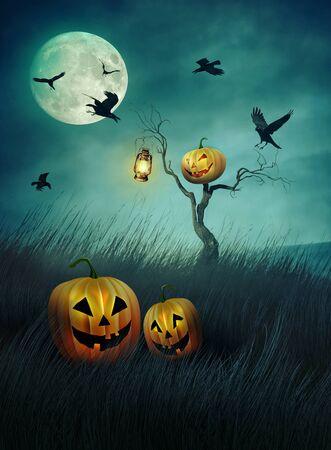 tall grass: Pumpkin scarecrow in fields of tall grass at night