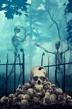 spooky graveyard: Skulls and Skeletons in creepy graveyard