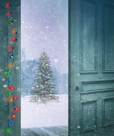 door opening: Rustic door opening outside to a snowy winter scene Stock Photo