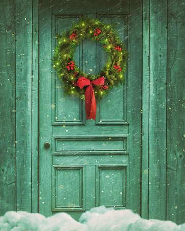 christmas backdrop: Rustic barn door with Christmas wreath