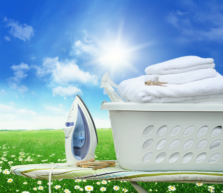 household tasks: Iron board and iron with laundry basket in field of daisies