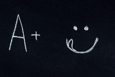 Letter and symbol written in white chalk on blackboard