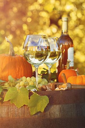 Glasses of white wine with pumpkins on barrel 免版税图像