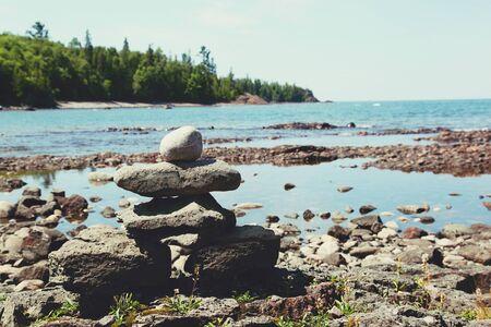 Stack of rocks on the coast of Lake Superior