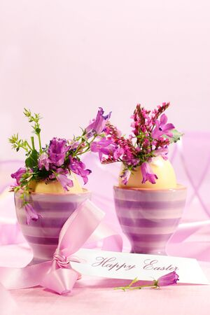 Egg cups with flower for Easter decorations