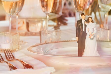 Cake figurines resting on plate at reception