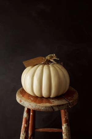 White pumpkin on old  wooden stool 免版税图像