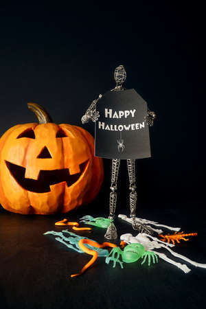 Metal mannequin holding sign with pumpkin in background
