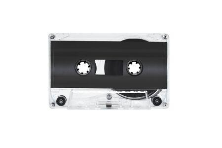 Black cassette tape isolated on white background Imagens