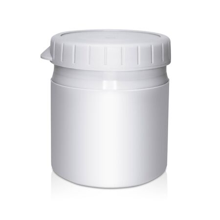 Gray plastic cream container on white background with reflection Standard-Bild