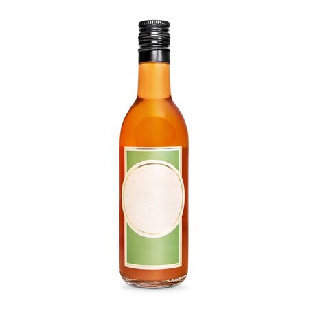 glass bottle of orange tincture, alcohol isolated on a white background Zdjęcie Seryjne