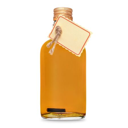 glass bottle of orange tincture, alcohol isolated on a white background