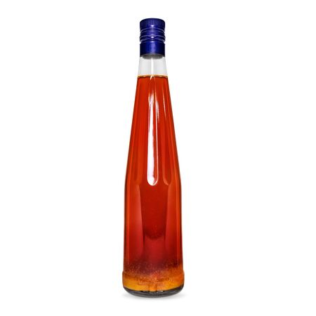 glass bottle of red wine, tincture, alcohol isolated on a white background