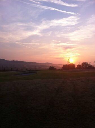 early: Early Morning Sunrise Hole 5 Stock Photo