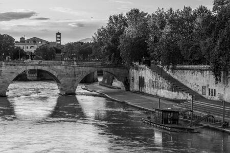 medioeval: Tiber Island bridge Editorial