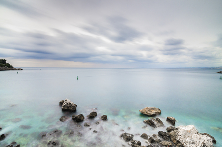 azure: France, Nice Cote dAzur - Shot made during a trip in a camper in November 2013; wide angle and long exposure.