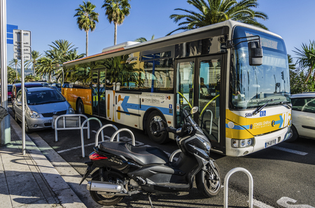 France, Nice Cote dAzur - Shot made during a trip in a camper in November 2013; bus stop.