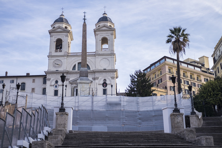 no way: Italy, Rome, Piazza di Spagna, 13.12.2015, Trinit� mountains closed for restoration in progress, no way to up the steps Editorial