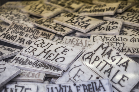 ices: Italy, Rome, Via Margutta, 13122015, Marmoraro is an artisan shop that for a few Euros can print on the marble your favorite phrase