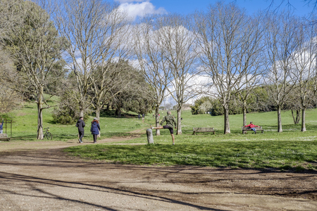 Italy, Rome, Villa Dora Pamphili - 06 March 2016: Its morning in the park of Villa Doria Pamphili, the largest park in Rome; It is a place where you can walk, run, ride a bicycle and of course relax