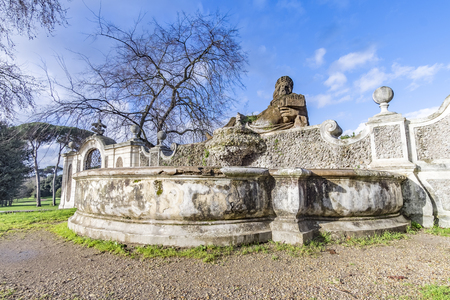 dora: Italy, Rome, Villa Dora Pamphili - 06 March 2016: I found this beautiful and antique fountain in the park, the view is spectacular and the sound transmits tranquility