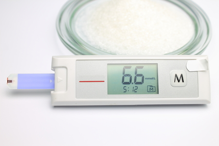 monitoring system: Blood glucose monitoring system with heightened level of glucose and sugar in the plate
