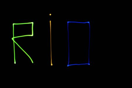light painting: Colored inscription Rio, made with light painting Stock Photo