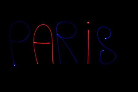 light painting: Colored inscription Paris, made with light painting Stock Photo