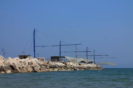 pisciculture: Fishing nets on the Adriatic coastline in Senigallia, Italy