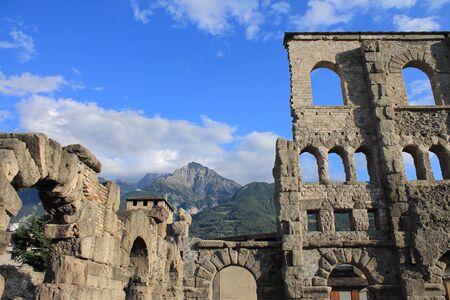 aosta: Ruins of Roman theater in Aosta, Italy