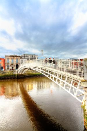liffey: Halfpenny  iron Bridge Liffey river  Dublin Ireland Stock Photo