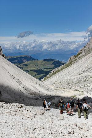 gardena: Sassolungo mountain passage Gardena,Italy,Dolomites  Stock Photo