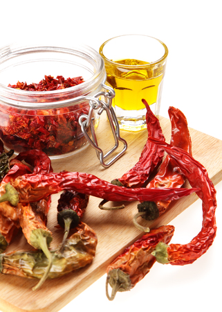 Mediterranean Food  dried hot chili peppers photo