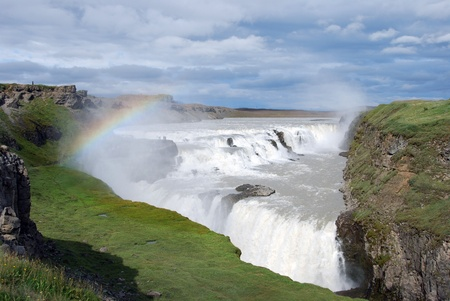 Big Gullfoss waterfall in Iceland with rainbow