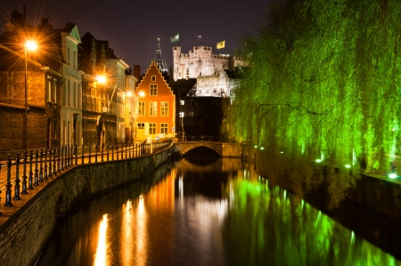 Historical Ghent by night Stock Photo