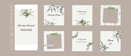 abstract story post feed background, web banner template with copy space. green floral sketch spring herb layout mock up. for beauty, jewelry, skin care, wedding, makeup, food, restaurant
