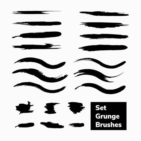 vector black set of grunge brushes ink