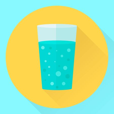 vector circle flat icon cup of water