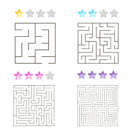 conundrum: vector illustration of set of 4 square mazes for kids at different levels of complexity